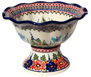 Polish Pottery Pedestal Bowl