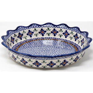 Quiche  / Scalloped Pie Dish from Zaklad in Polish Pottery Flower Mosaic Design
