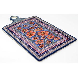 Polish Pottery Extra Large Cutting Board in Unikat Poppies Pattern painted by Ewa Krasniewska