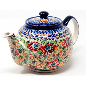 Teapot in Floral Garden Polish Pottery Pattern