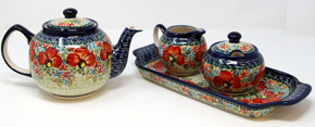 Polish Pottery Teapot and Sugar and Creamer Set with Tray