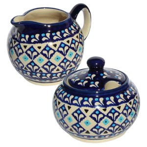 Polish Pottery Sugar Bowl and Creamer