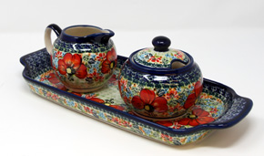 Polish Pottery Sugar and Creamer Set with Tray