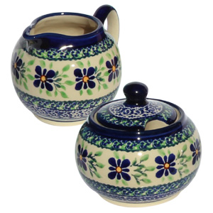 Pottery Sugar Bowl and Creamer