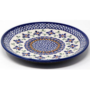 Salad Plate in Polish Pottery Mosaic Flower Design