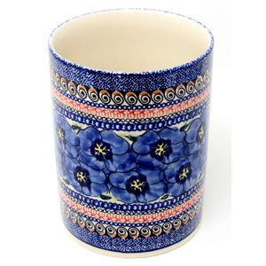 Kitchen Utensil Holder Polish Pottery in Regal Bouquet Unikat Pattern painted by Anna Bucko