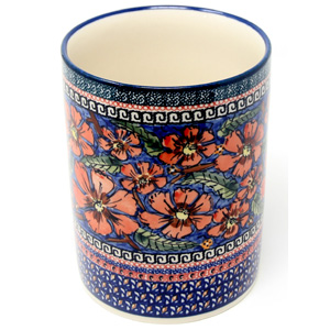 Kitchen Utensil Holder Polish Pottery in Poppies Unikat Pattern