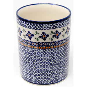 Kitchen Utensil Holder Polish Pottery in Mosaic Flower Pattern