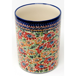Utensil Holder in Floral Garden Unikat Pattern painted by Karolina Mendrek