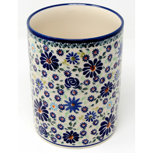 Utensil Holder, Polish Pottery 6 Inch Diamater in DU126 Pattern