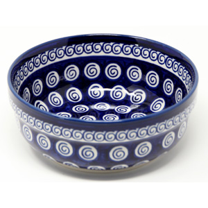 Bowl 6 Inch Diameter Polish Pottery Cobalt Swirl Design from Zaklady
