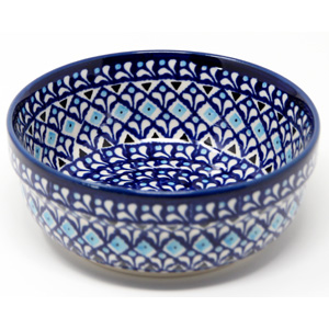 Bowl 6 Inch Diameter from Zaklady Polish Pottery in Blue Diamond Dream Pattern