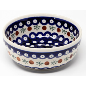 Bowl 6 Inch Diameter in Polish Pottery Nature Pattern from Zaklady