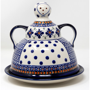 Cheese Lady in Mosaic Flower Polish Pottery from Zaklady
