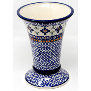 Vase in Polish Pottery Mosaic Flower Pattern 7.5 Inch High