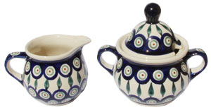 Polish Pottery Sugar Bowl andCreamer