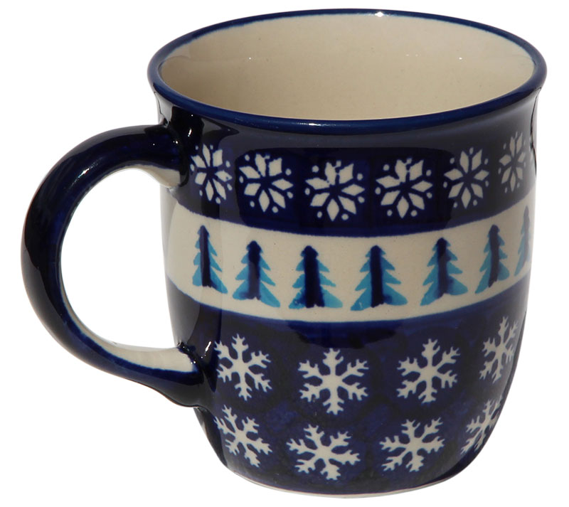 Polish Pottery Mug 12 Oz., Classic Design 1021a