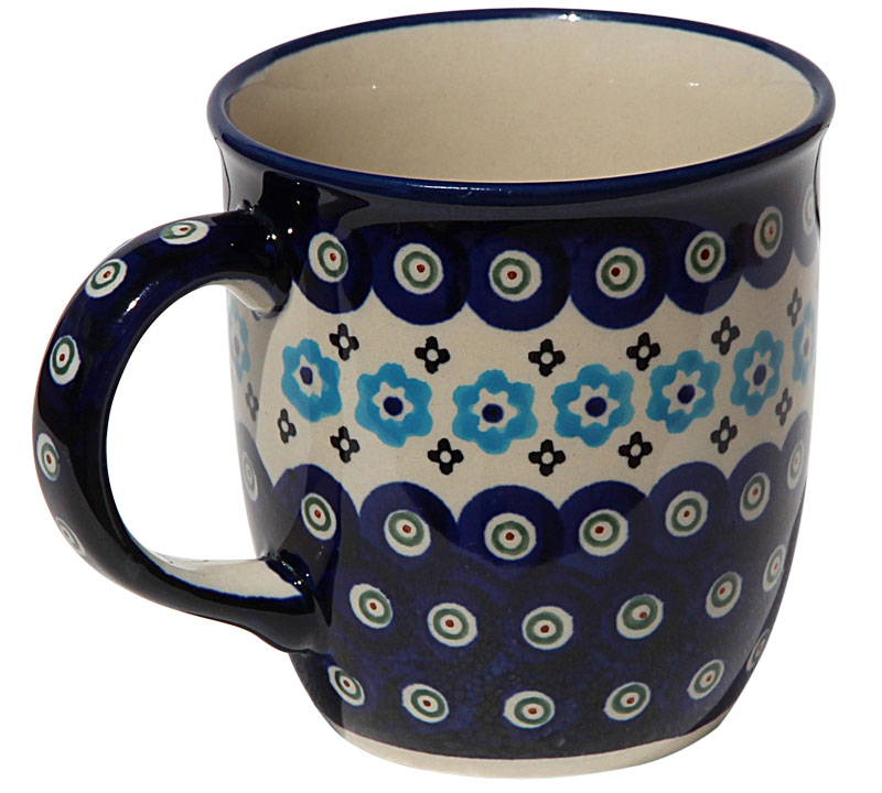 Polish Pottery Mug 12 Oz., Classic Design 432a