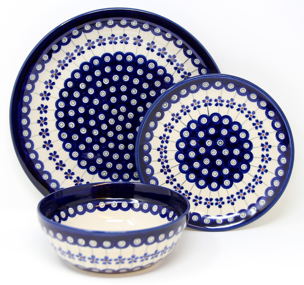 3 Piece Place Setting, Classic Design 166a Floral Peacock