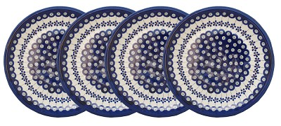 Polish Pottery Set of 4 Dinner Plates  9.5 Inch, Classic Design Floral Peacock
