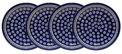 Polish Pottery Set of 4 Dinner Plates  9.5 Inch, Classic Design 174a