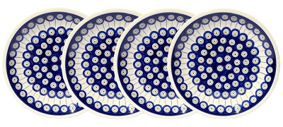 Polish Pottery Set of 4 Dinner Plates  9.5 Inch, Classic Design 8