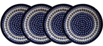 Polish Pottery Set of 4 Dinner Plates, Classic Design 1085a