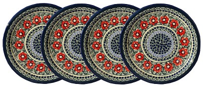 Polish Pottery Set of 4 Dinner Plates, Unikat Signature 134 Art
