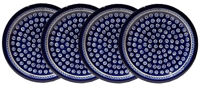 Polish Pottery Set of 4 Dinner Plates, Classic Design 174a