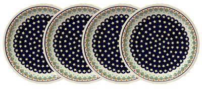 Polish Pottery Set of 4 Dinner Plates, Classic Design 198