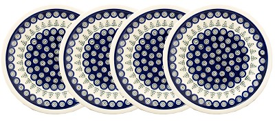 Polish Pottery Set of 4 Dinner Plates, Classic Design 312