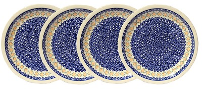 Polish Pottery Set of 4 Dinner Plates, Classic Design 869