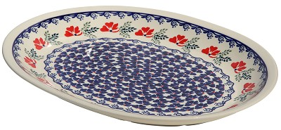 Polish Pottery Large Serving Platter, Classic Design 1115