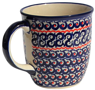 Polish Pottery Mug 12 Oz., Classic Design 1126a