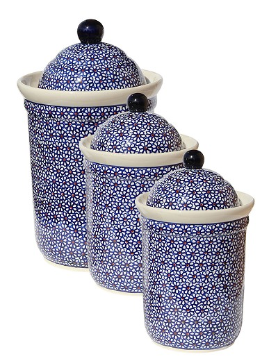 Polish Pottery 3 PC Canister Set, Classic Design 120