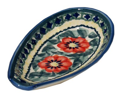 Polish Pottery Spoon Rest, Unikat Signature 134 Art