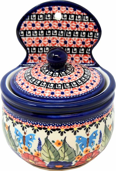 Polish Pottery Hanging Salt Box