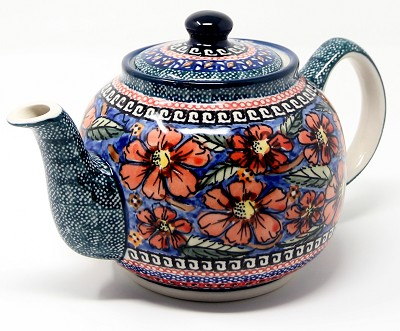 Teapot in Poppies Polish Pottery Pattern painted by Barbara Boczar