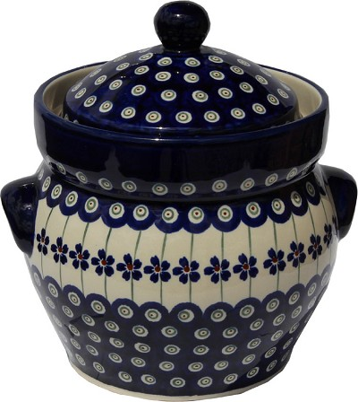 Polish Pottery Fermenting Crock Pot 1.7 liter / 1.8 quart, Floral Peacock Design