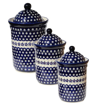 Polish Pottery 3 PC Canister Set, Floral Peacock Design