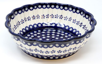 Polish Pottery Scalloped Bowl, Floral Peacock 166a Pattern