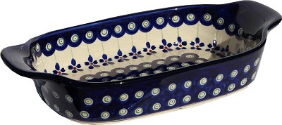 Polish Pottery Rectangular Serving Dish, Classic Pattern Floral Peacock