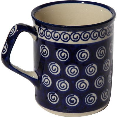 Polish Pottery Coffee Mug 8.5 oz., Classic Design 174a
