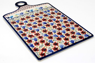 Extra Large Cutting Board in Unikat Polish Pottery from Zaklady Pattern painted by Sylwia Tukiewicz