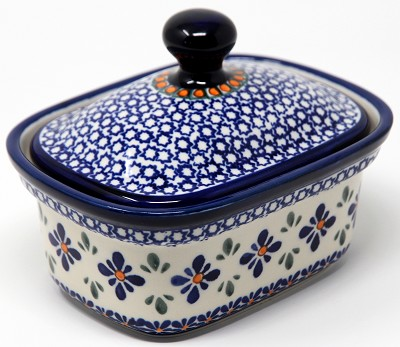 Butter Tub in Mosaic Flower Polish Pottery Pattern from Zaklady