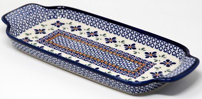 Polish Pottery Bread Tray Mosaic Flower Design
