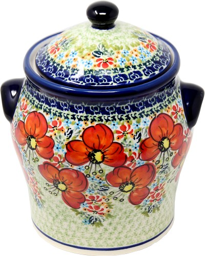 Polish Pottery Large Canister in Garden Meadow Pattern from Zaklady signed by Anna Bucko