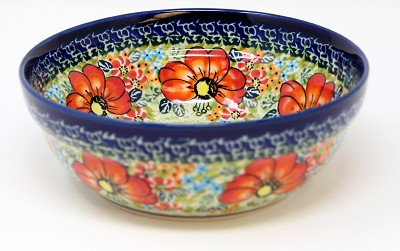 Polish Pottery Cereal / Salad Bowl  Decoration Inside, Unikat Signature Design 296 Art