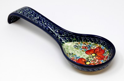 Polish Pottery Spoon Rest, Unikat Signature 296 Art