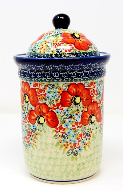 Polish Pottery Canister 5.5 Cups, Signature Pattern 296 Art